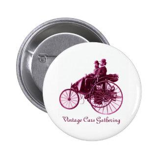Vintage Cars Gathering , purple  pink violet white Button