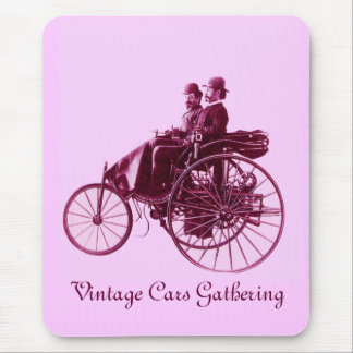 Vintage Cars Gathering , purple  pink violet white Mouse Pad