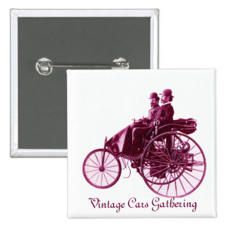 Vintage Cars Gathering , purple  pink violet white Pinback Button