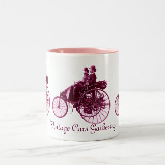 Vintage Cars Gathering , purple  pink violet white Two-Tone Coffee Mug