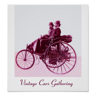 Vintage Cars Gathering , purple pink white Poster