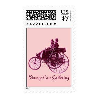 Vintage Cars Gathering , purple violet pink Postage