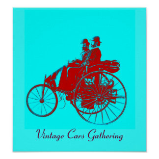 Vintage Cars Gathering , red blue urquase Poster