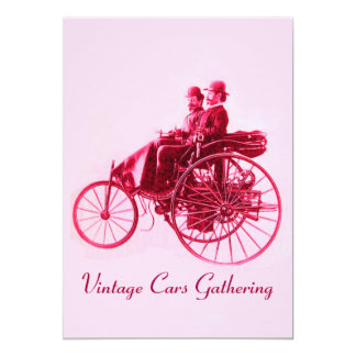 ViNTAGE CARS GATHERING red fuchsia pink Card