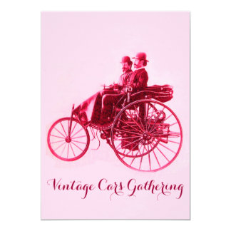 ViNTAGE CARS GATHERING ,silver red fuchsia pink Card