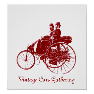 Vintage Cars Gathering , white brown Poster