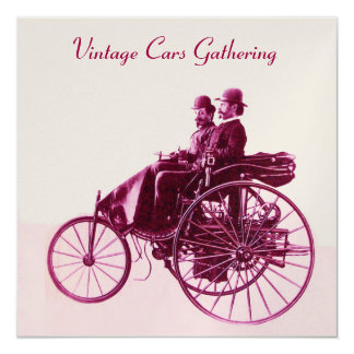 ViNTAGE CARS GATHERING ,white champagne purple red Card