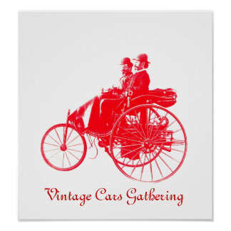 Vintage Cars Gathering , white red Poster