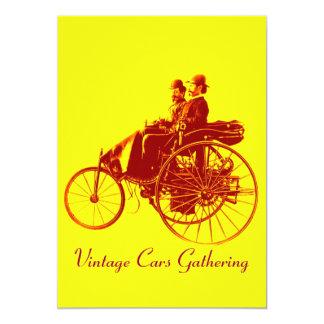 ViNTAGE CARS GATHERING ,yellow brown Card