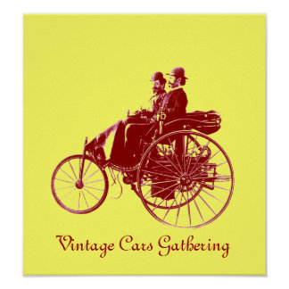 Vintage Cars Gathering , yellow brown Poster
