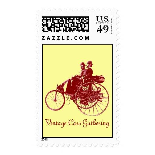 VINTAGE CARS GATHERING , yellow brown Stamp