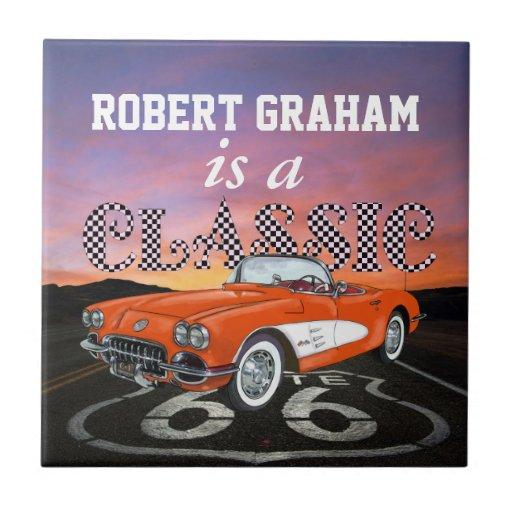 Vintage Cars - Gift - Route 66 - SRF Tile