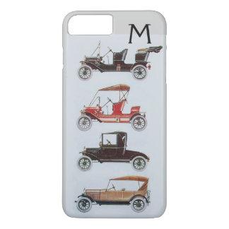 VINTAGE CARS  GREY BLACK MONOGRAM iPhone 7 PLUS CASE