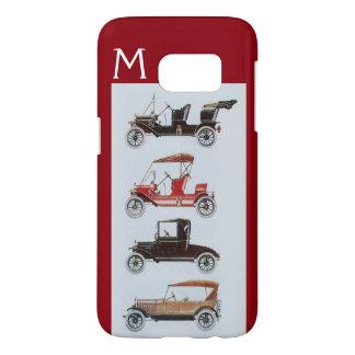 VINTAGE CARS  GREY RED MONOGRAM SAMSUNG GALAXY S7 CASE
