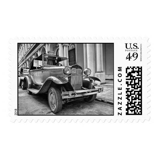 Vintage cars postage stamp