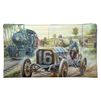 Vintage Cars Racing Scene,train painting Cosmetic Bag