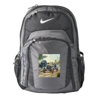 Vintage Cars Racing Scene,train painting Nike Backpack