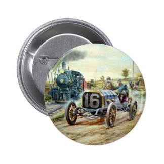 Vintage Cars Racing Scene,train painting Pinback Button