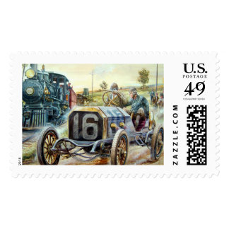 Vintage Cars Racing Scene,train painting Postage