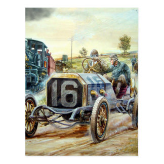 Vintage Cars Racing Scene,train painting Postcard