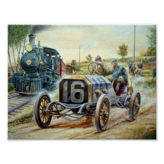 Vintage Cars Racing Scene,train painting Poster