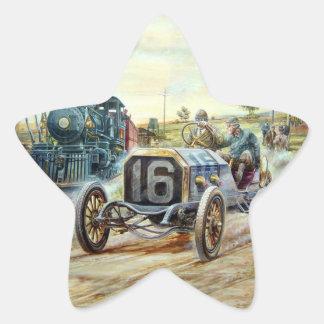 Vintage Cars Racing Scene,train painting Star Sticker