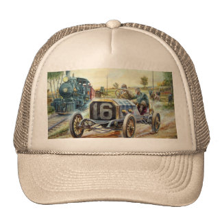Vintage Cars Racing Scene,train painting Trucker Hat
