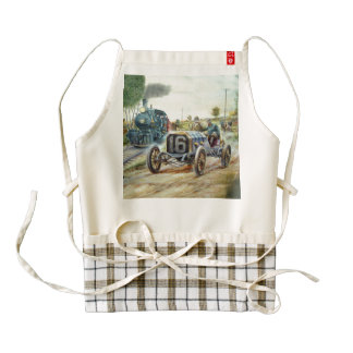 Vintage Cars Racing Scene,train painting Zazzle HEART Apron