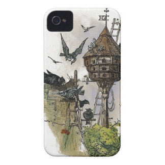 Vintage Cartoon Birdhouse Painting iPhone 4 Case