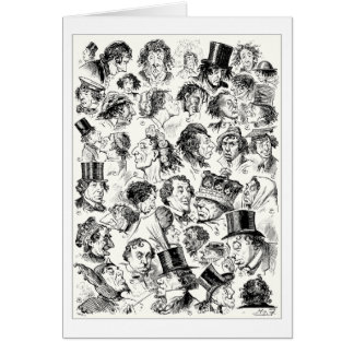 Vintage cartoon caricatures greeting card