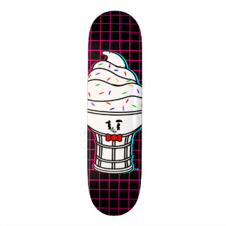 Vintage Cartoon IceCream Pink Grid Skateboard