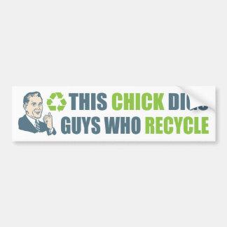 Vintage Cartoon Man Funny Recycle Slogan Car Bumper Sticker