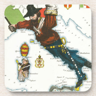 Vintage Cartoon Map of Italy Drink Coasters