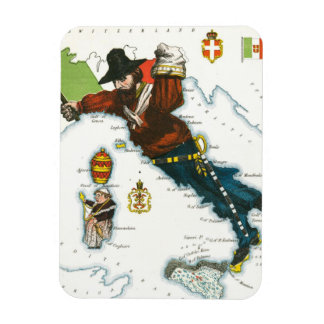Vintage Cartoon Map of Italy Magnet