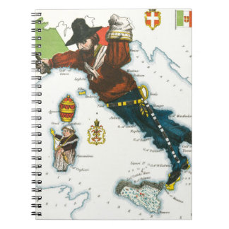 Vintage Cartoon Map of Italy Notebook