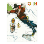 Vintage Cartoon Map of Italy Postcard