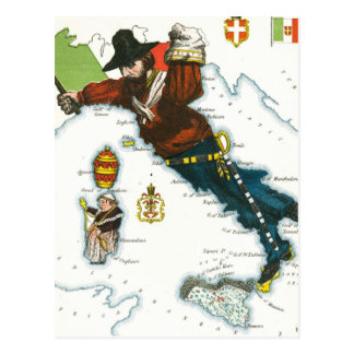 Vintage Cartoon Map of Italy Postcard