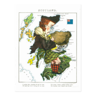 Vintage Cartoon Map of Scotland Postcard