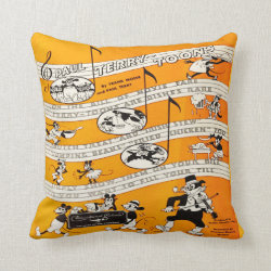 Vintage Cartoon Silent Film Advert Throw Pillow