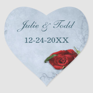 Vintage Cascade Blue Save The Date Wedding Heart Sticker