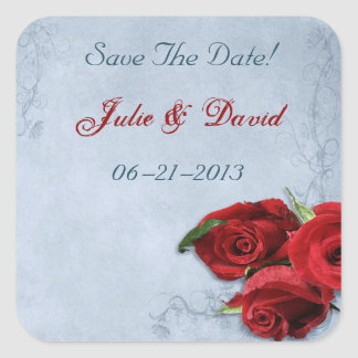 Vintage Cascade Blue Save The Date Wedding Square Sticker
