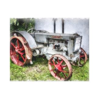 Vintage Case Gray Tractor Watercolor Canvas Print