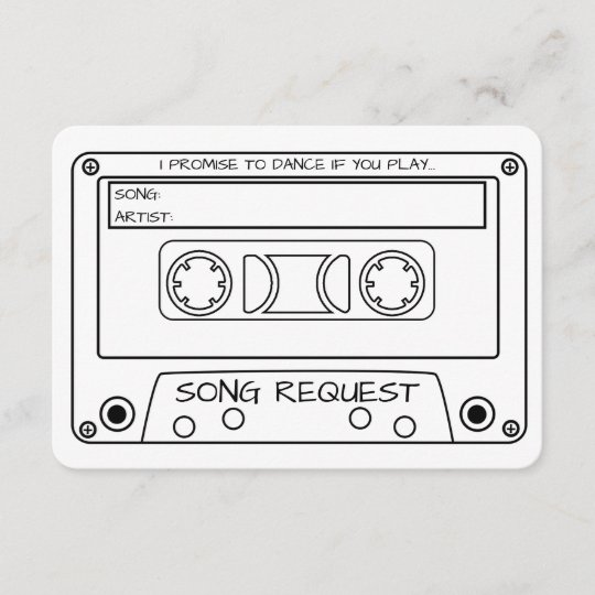 Vintage Cassette Tape Wedding Song Request Enclosure Card