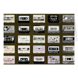 vintage cassette tapes illustration card