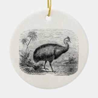 Vintage Cassowary Bird Personalized Retro Birds Ceramic Ornament