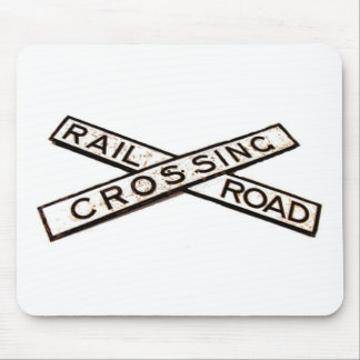 Vintage Cast Iron Railroad Crossing Sign Mouse Pad