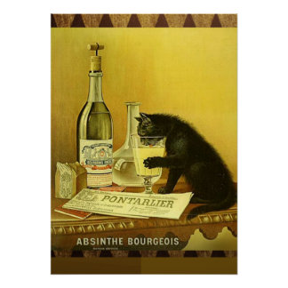 Vintage Cat - Absinthe Bourgeois Poster