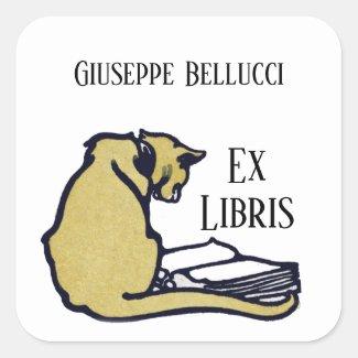 Vintage Cat and Book Ex Libris Bookplate Sticker