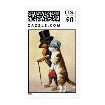 vintage cat and dachshund postcard postage stamp
