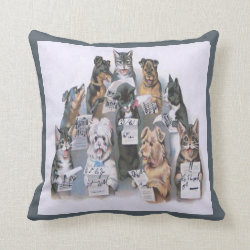 Vintage Cat and Dog Choir Throw Pillow